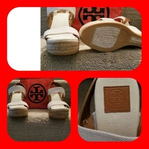 BRAND NEW TORY BURCH AUTHENTIC CANVAS WEDGE SANDAL